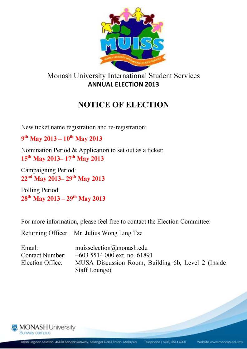 MUISS Election 2013- Notice of Election
