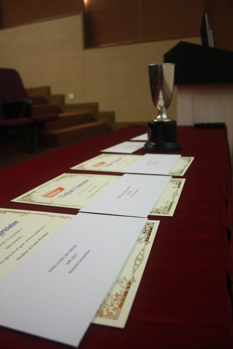 SOfE Trophy and certificates